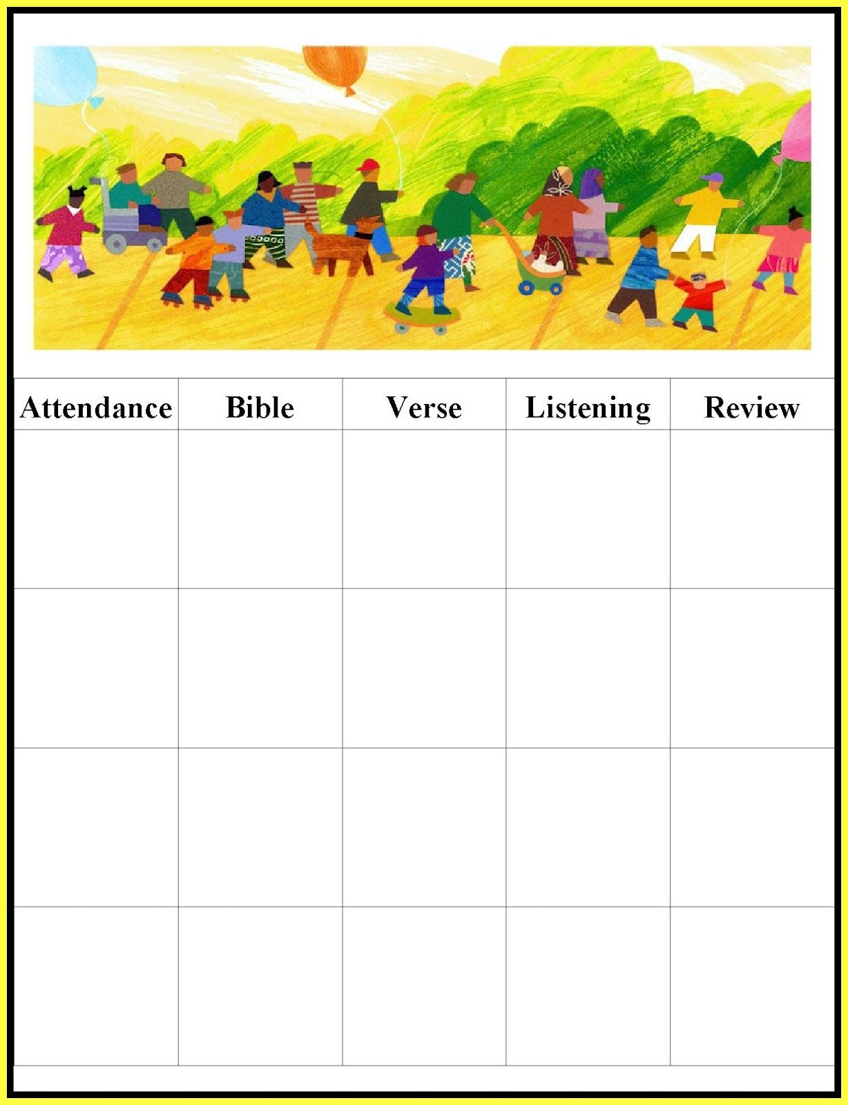 picture about Sunday School Attendance Chart Free Printable named Childrens Gems Inside of My Treasure Box: Sunday College