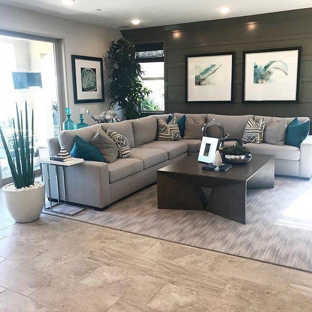 Teal And Grey. Nice Home Decor. #Homedecorlivingroom