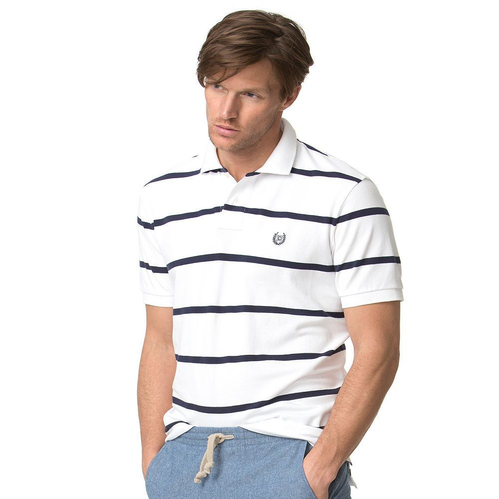 Men's Chaps Classic-Fit Striped Stretch Pique Polo, Size: Medium, White