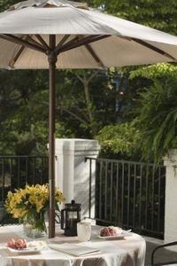 Rather than looking around for a tablecloth for your umbrella patio table, make your own.