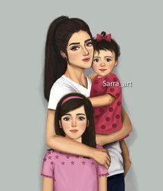 819 Likes 53 Comments Sara Ahmed Sarra Art On Instagram بناتي حلو أيامي وسعادتي اجتمعت بكم مييييين هنا ام ا Sarra Art Mother Daughter Art Mother Art