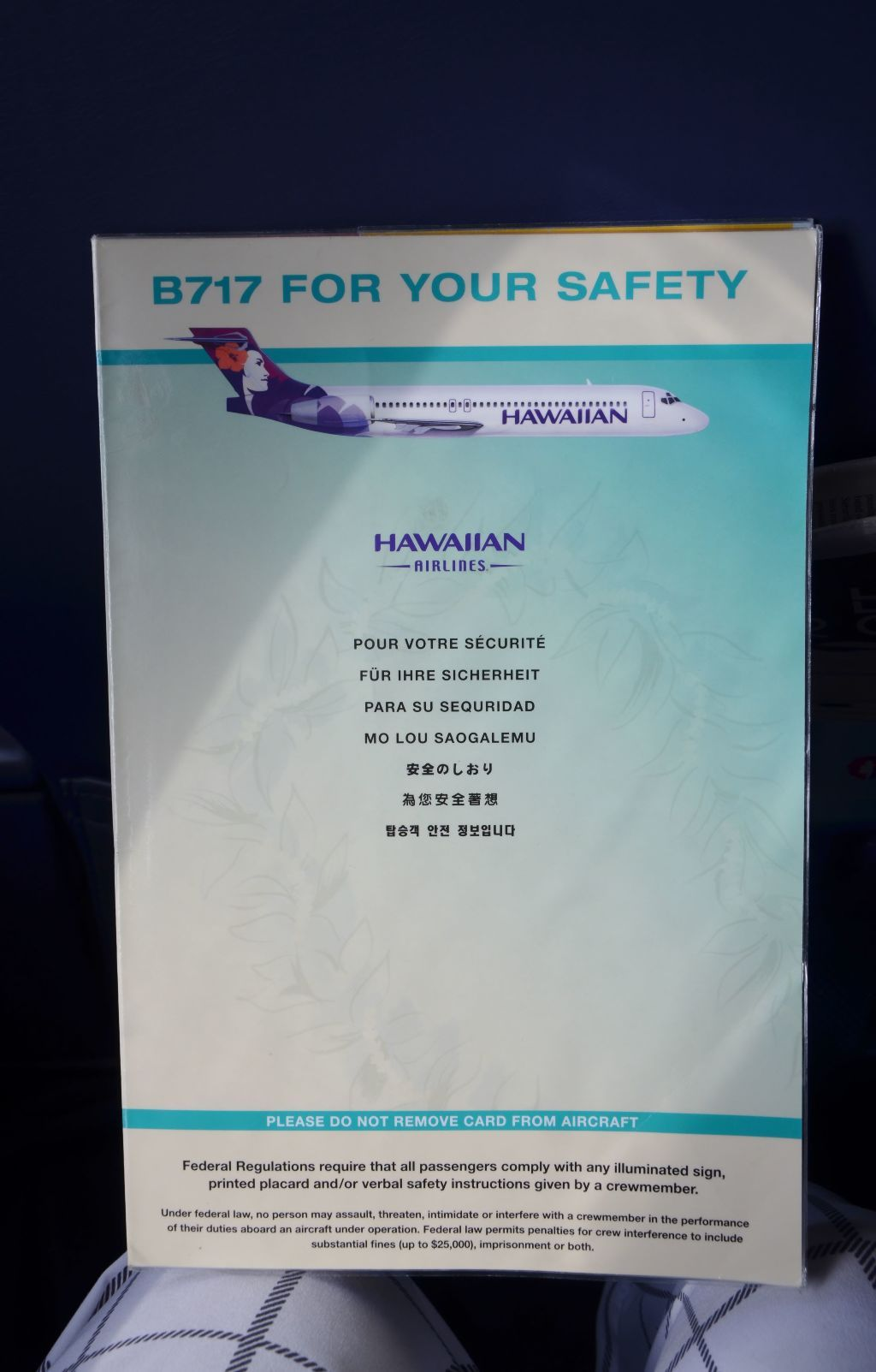 Hawaiian Airlines Boeing 717 200 First Class Cabin Safety Card Photos Hawaiian Airlines Fleet Airlines