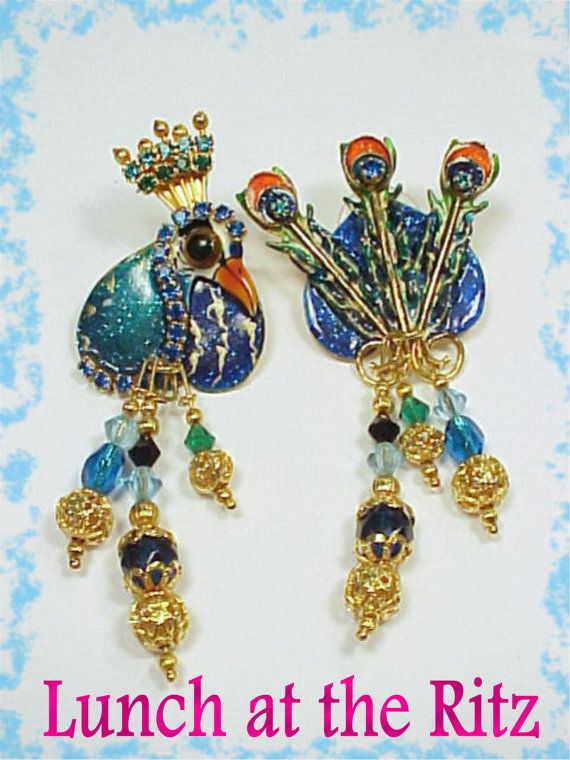 45a38f65507d6 Lunch At The Ritz Large Peacock Head & Feathers Earrings with ...