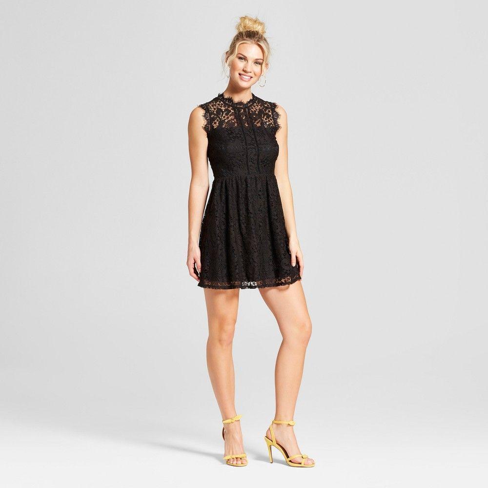 7d59e278dff Women s Lace Neckline Fit   Flare Dress - Lots of Love by Speechless ( Juniors ) Black L