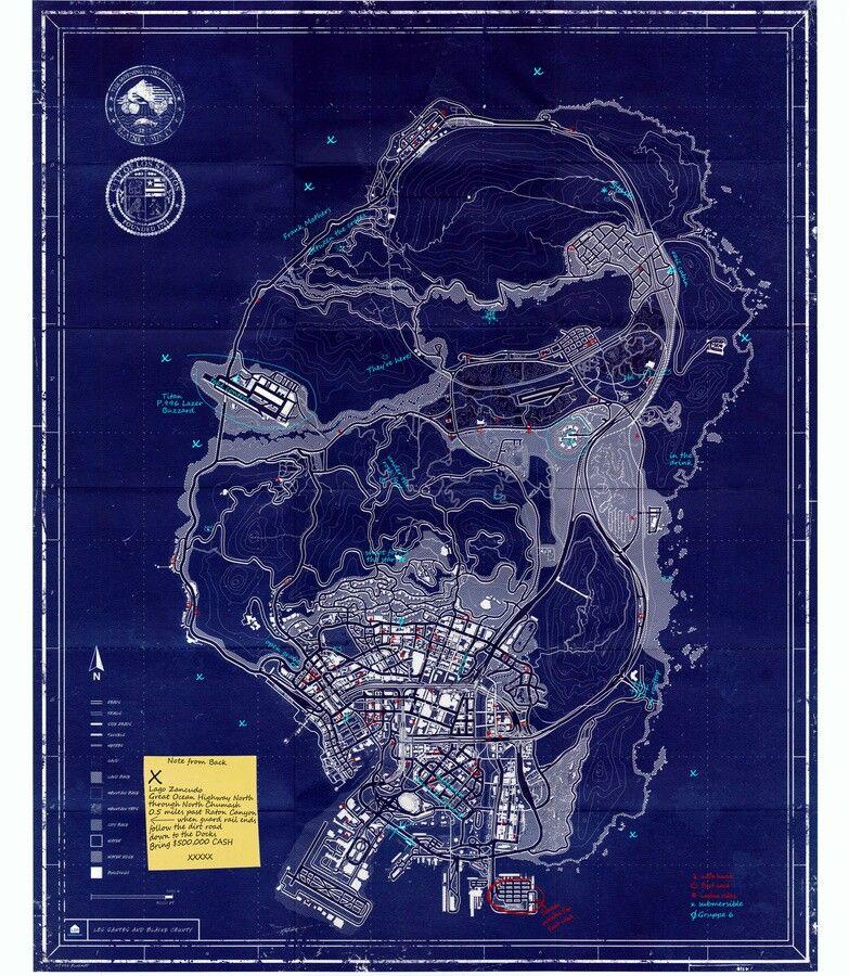 Mapa En Uv De Gta V Juegos De Gta Gta Mapas