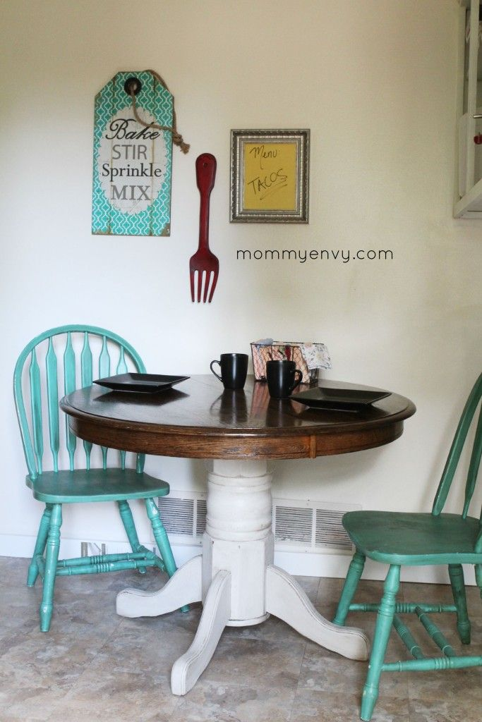 A Chalk Painted Kitchen Table Love The Teal Chairs As Accents