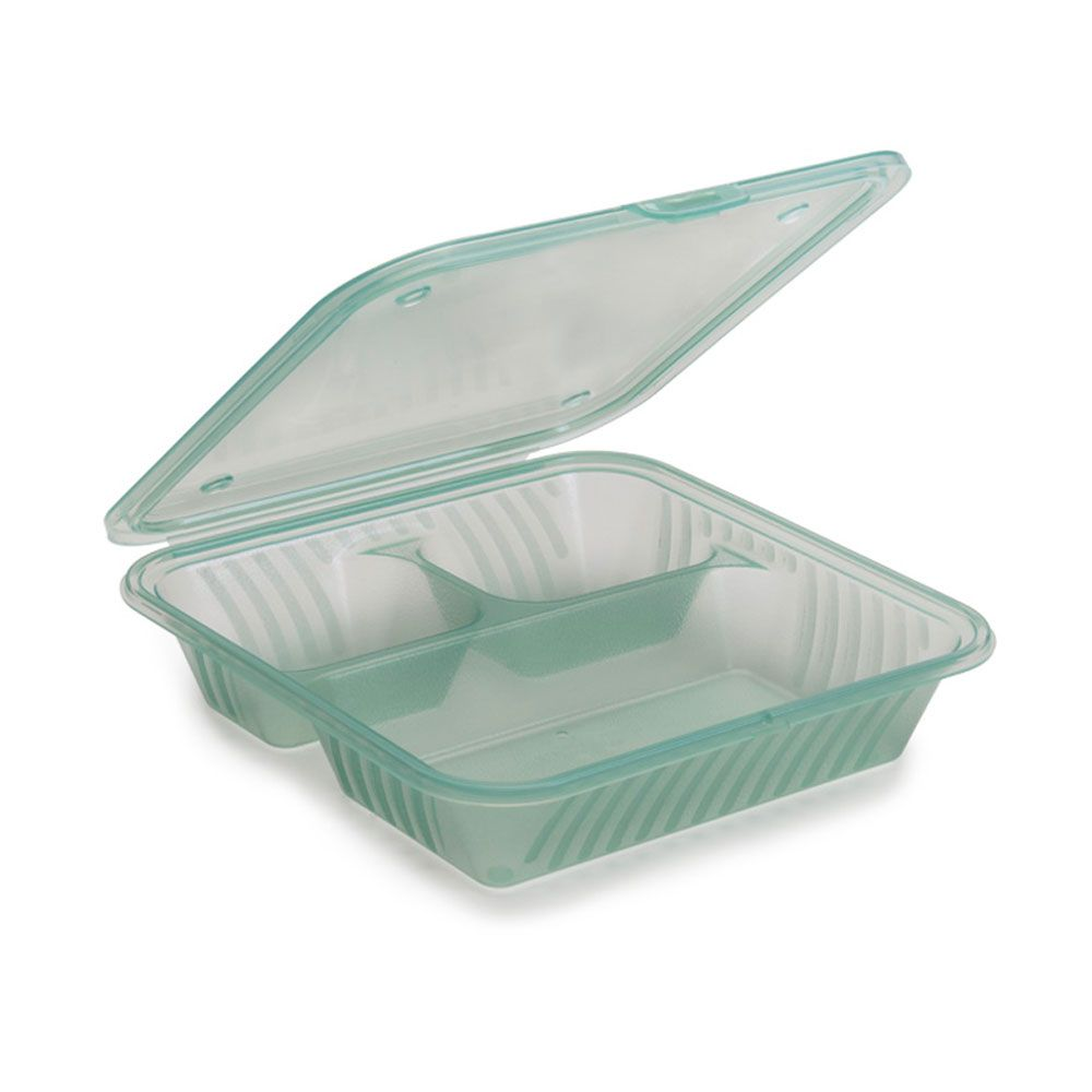 Eco Takeouts Jade 9 Inch X 9 Inch Flat Top 3 Compartment Food Container 3 5 Inch Deep Case Of 12 3 Compartment Food Containers Food Containers Take Out Containers