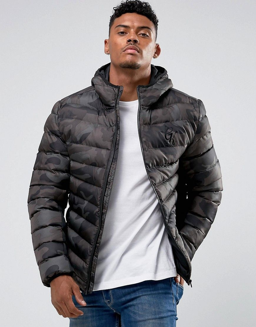 fd5b8b431 Gym King Puffer Jacket In Camo - Black | Products | Jackets, Quilted ...