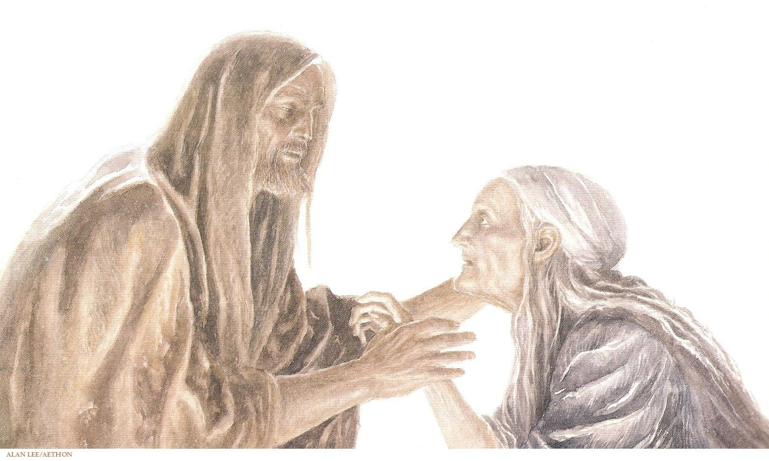 Odysseus & Eurycleia. The well-known episode of the footbath during which Eurýkleia recognizes Odysseus by his scar, but he throttles her and keeps her quiet. - Homer's Odyssey, Book 19, Robert Fitzgerald (Alan Lee/user: Aethon)