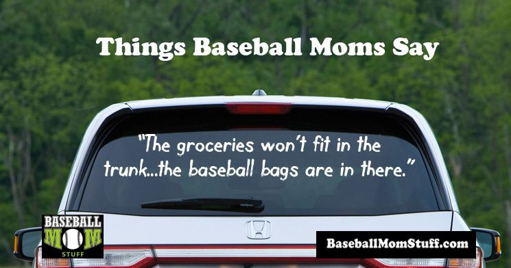 The groceries won't fit in the trunk...the baseball bags are in there.