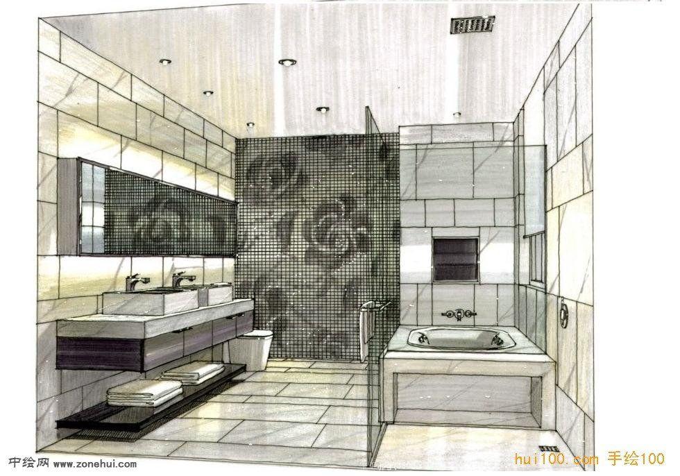 bathroom hand rendering lubin interior design