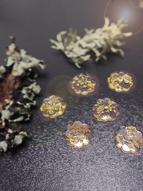 Six 2 hole daisy shaped buttons  tiny seeds by Tinyseedsofjoy