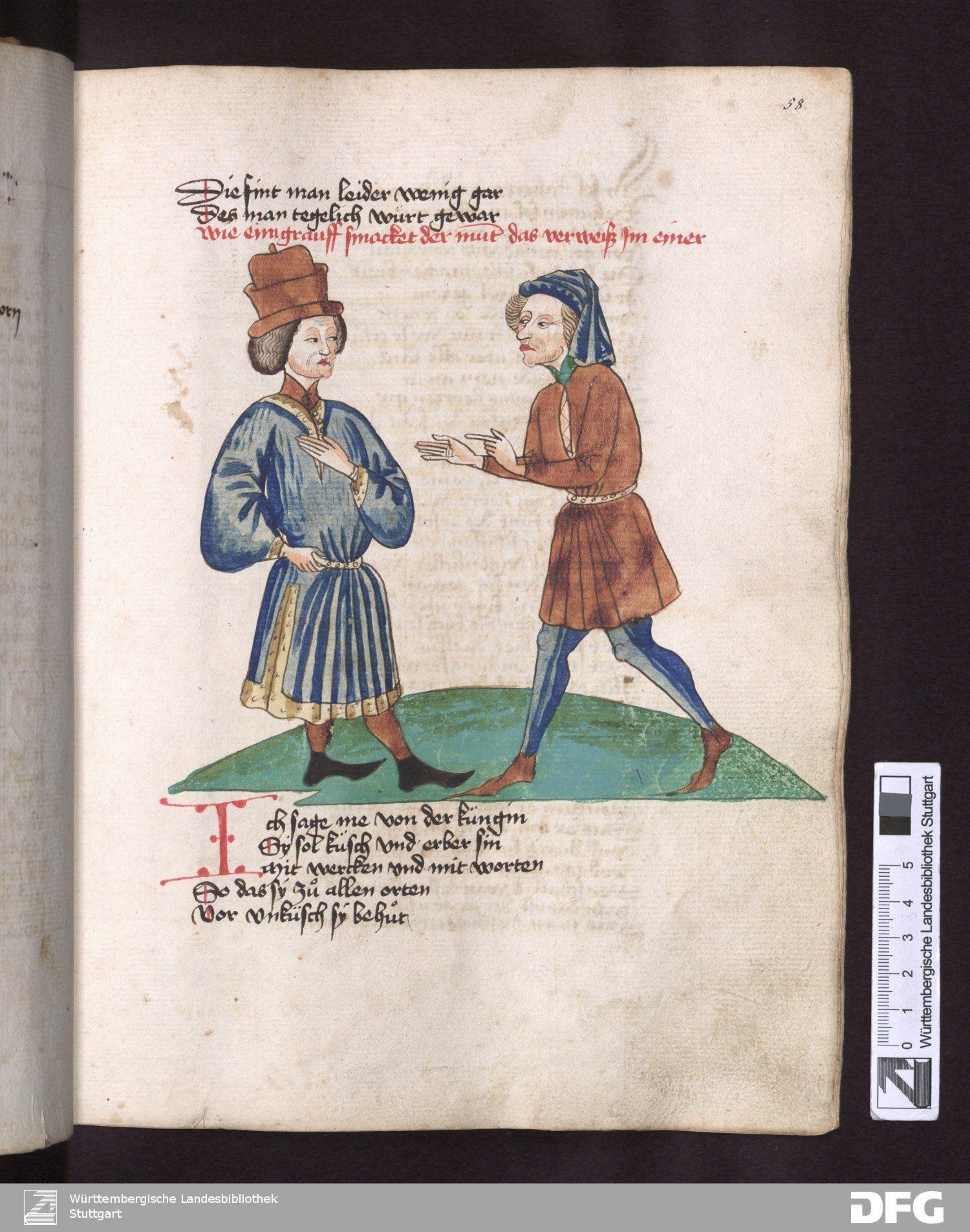 Schachzabelbuch - Cod.poet.et phil.fol.2   Konrad von Ammenhausen   Germany   1467   Wurttemberg State Library   Record #: 330052896   58r