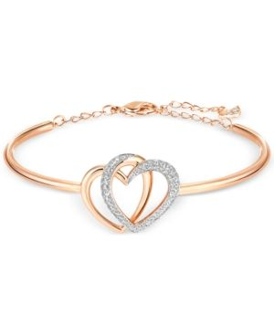 5858577bf774c Swarovski Rose Gold-Tone Crystal Pave Interlocking Double Heart Bangle  Bracelet - Gold