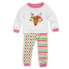 Reindeer Stripe Dot Lounge Wear Set#little #girl #outfit #Christmas #holiday #kids #fashion