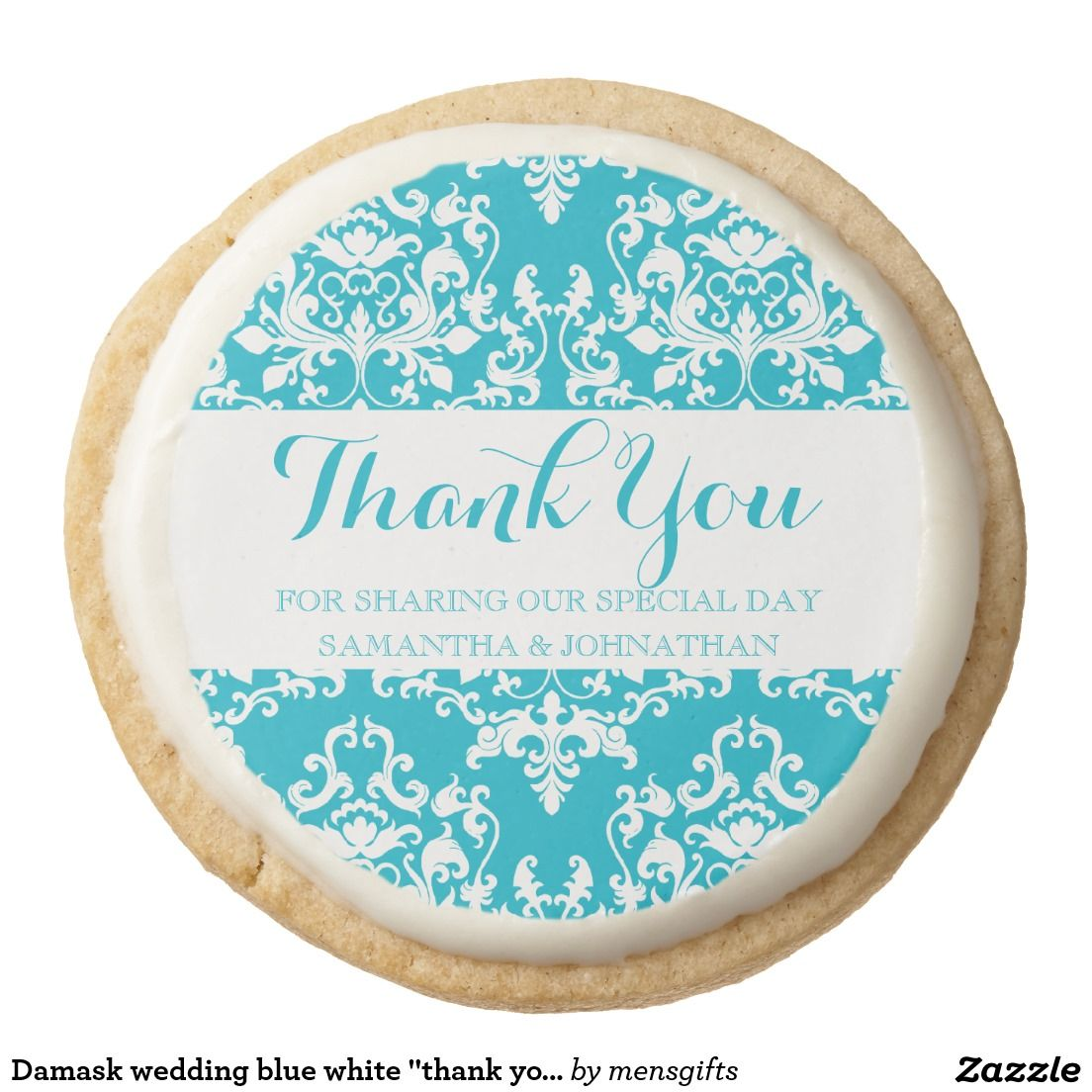 "Damask wedding blue white ""thank you"" round shortbread cookie"