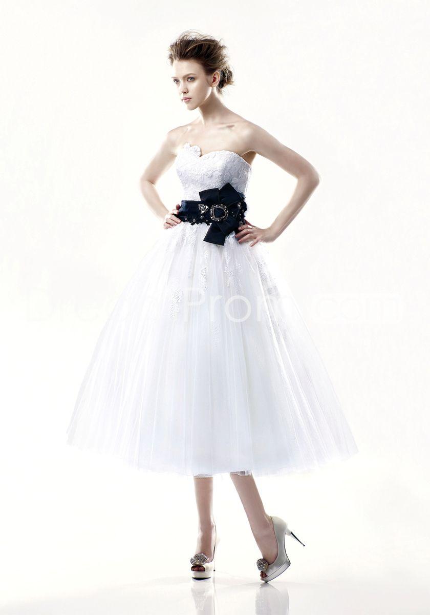 Fabulous aline strapless tealength appliques sash wedding dresses
