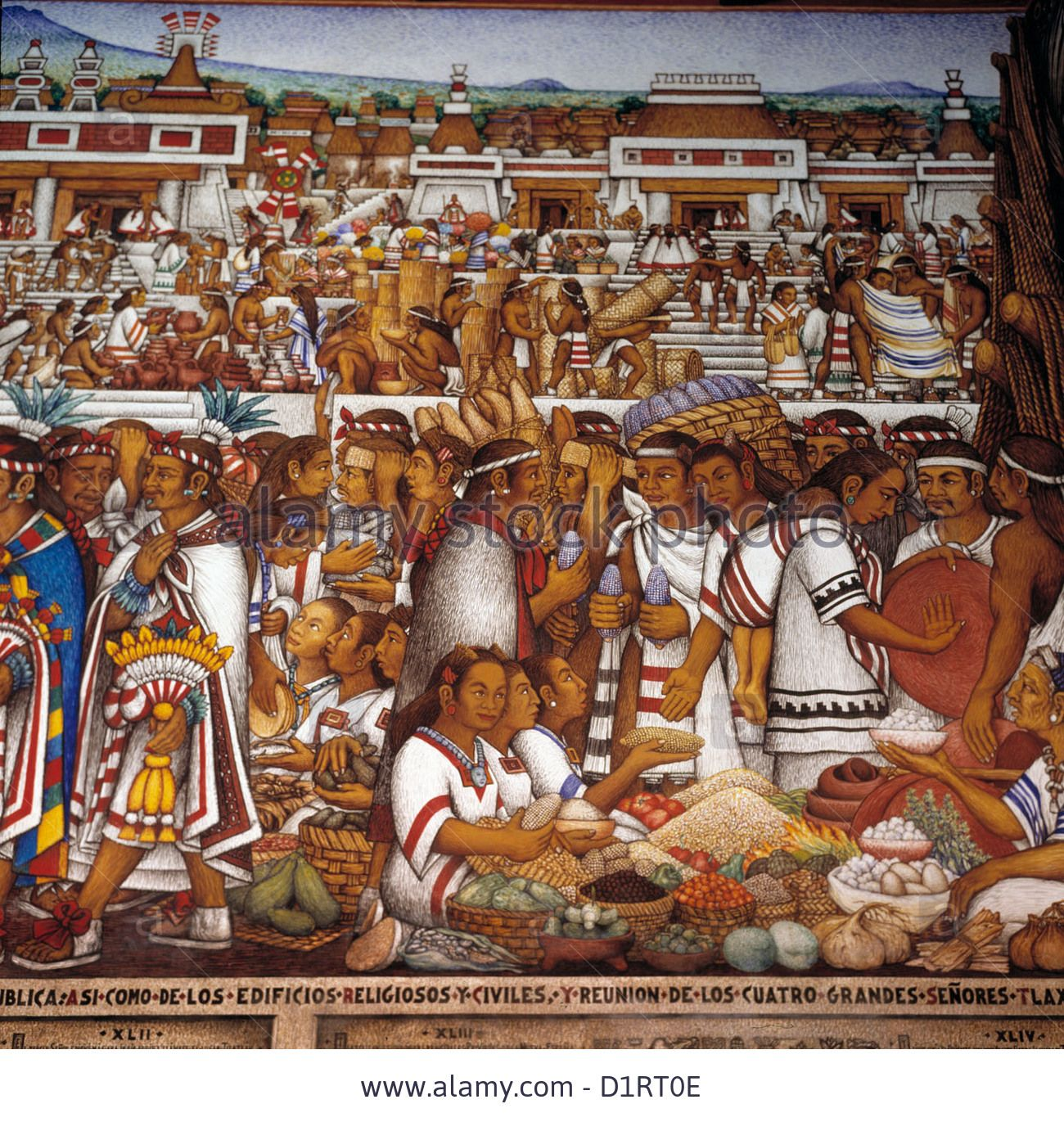 Mexico mural painting by desiderio xochitiotzin for Aztec mural painting
