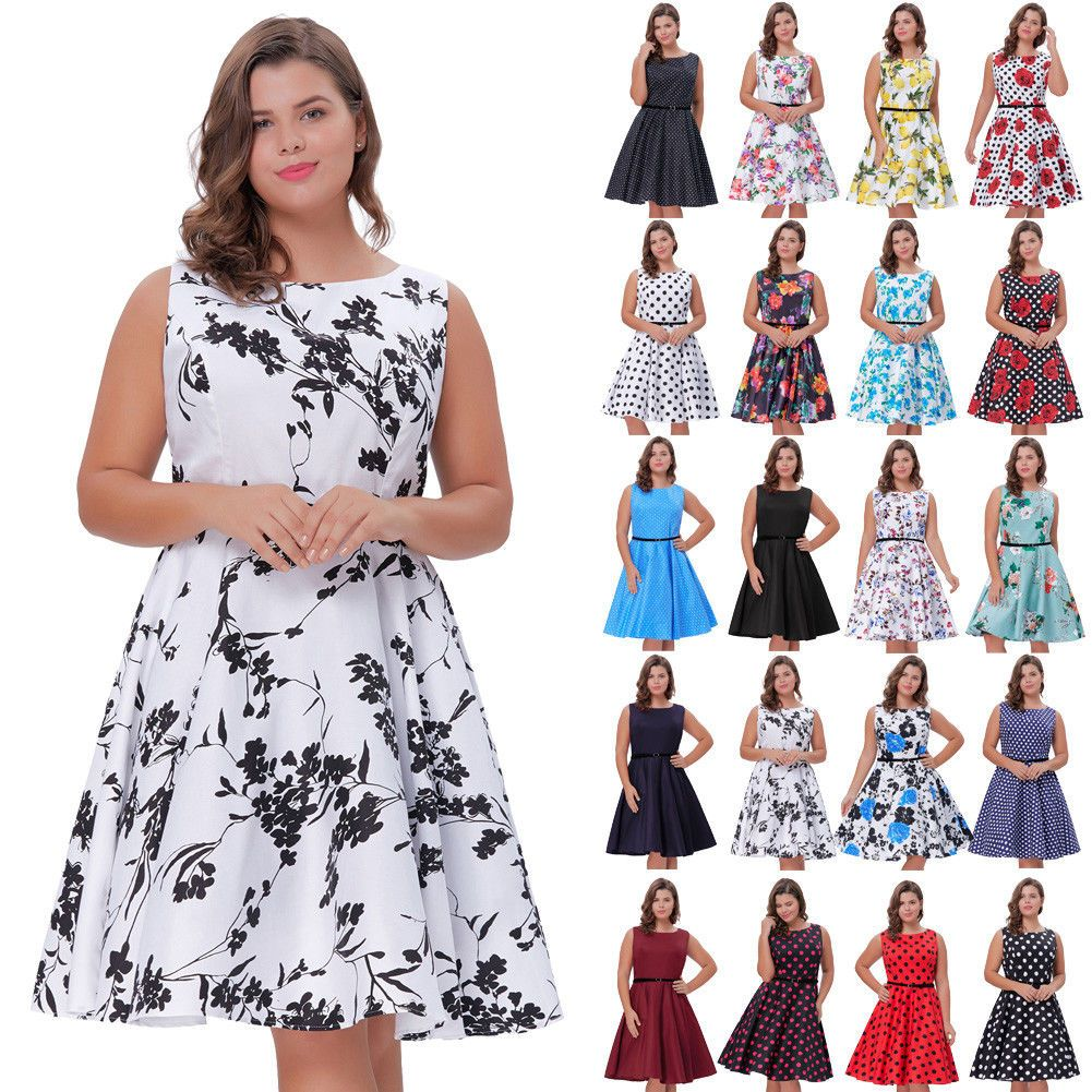 Plus size vintage retro swing dresses s housewife cocktail pinup