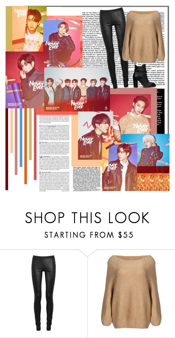 """""""GOT7 Never Ever"""" by jina-7 ❤ liked on Polyvore featuring Vanity Fair, Garland Rug, Bambam, Rick Owens, Coach, kpop and GOT7"""