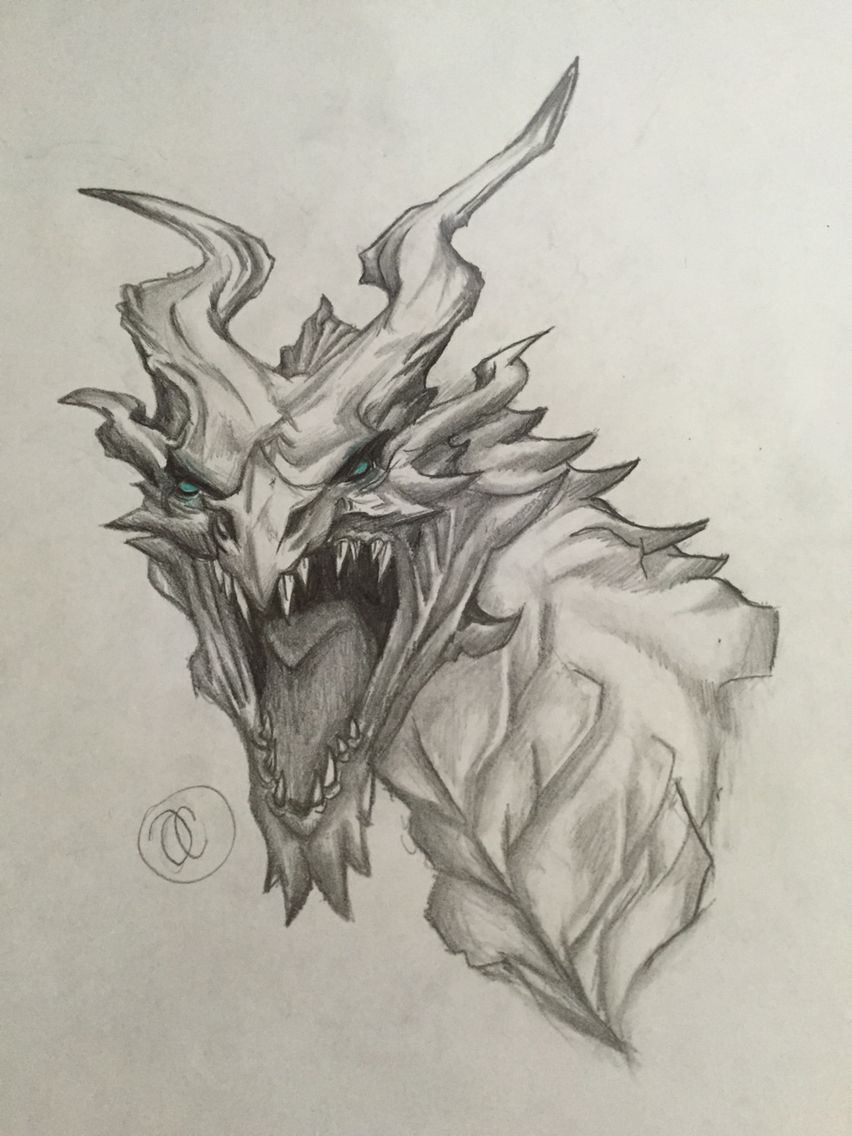 Alduin Skyrim Oliviacoulson In Pencil Teal Prismacolor Eyes
