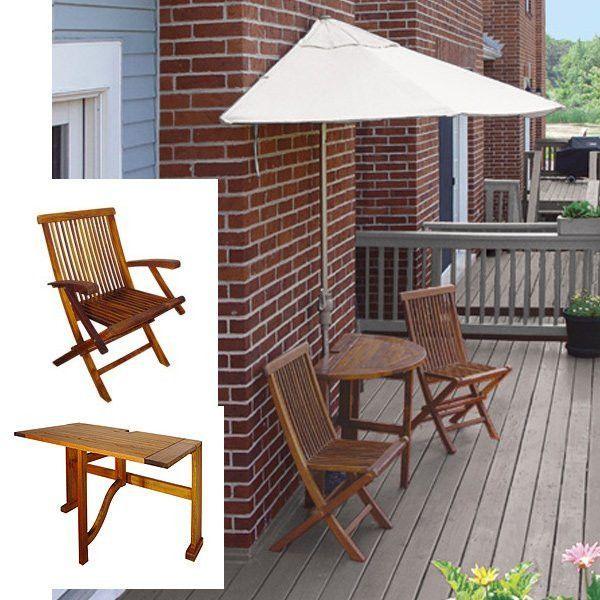 Terrace Mates Villa Deluxe 7.5 Ft. Natural Olefin Set (Natural / Wood) (See Description)
