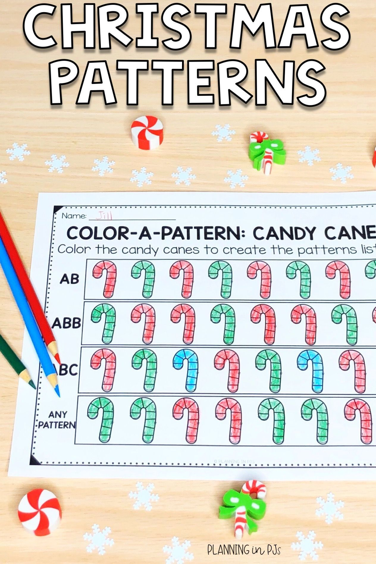 Christmas Color A Pattern Christmas Pattern Pattern Activities Christmas Colors [ 1895 x 1264 Pixel ]
