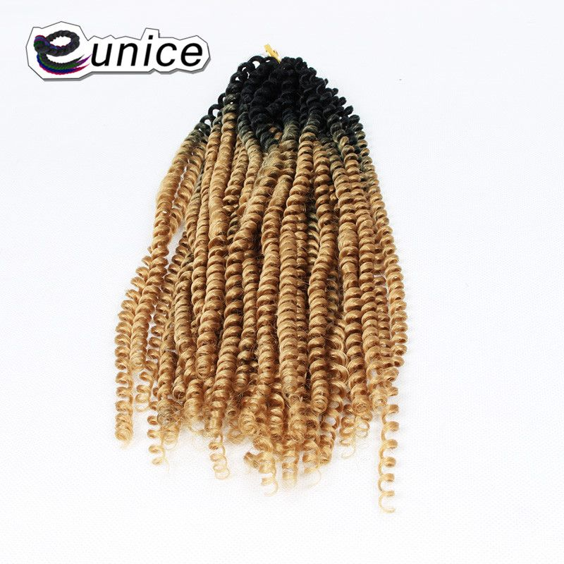 Ombre Afro Kinky Twist Synthetic Braiding Hair Extensions Pre Curled