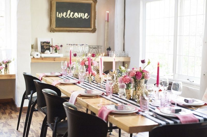 Chic pink, black and gold bridal shower.