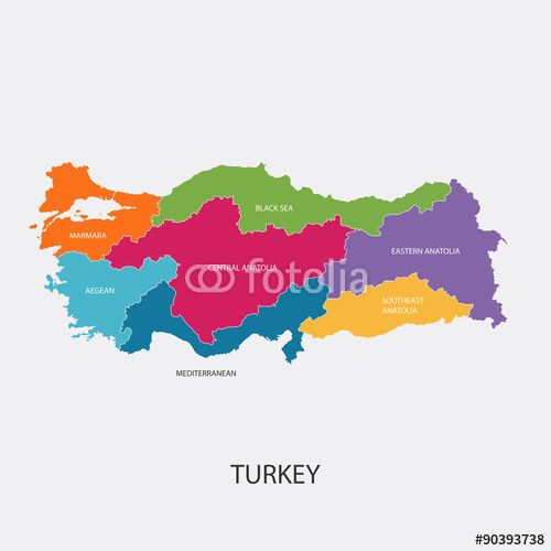 Best Turkey Map Vector with colored regions #Illustration ...