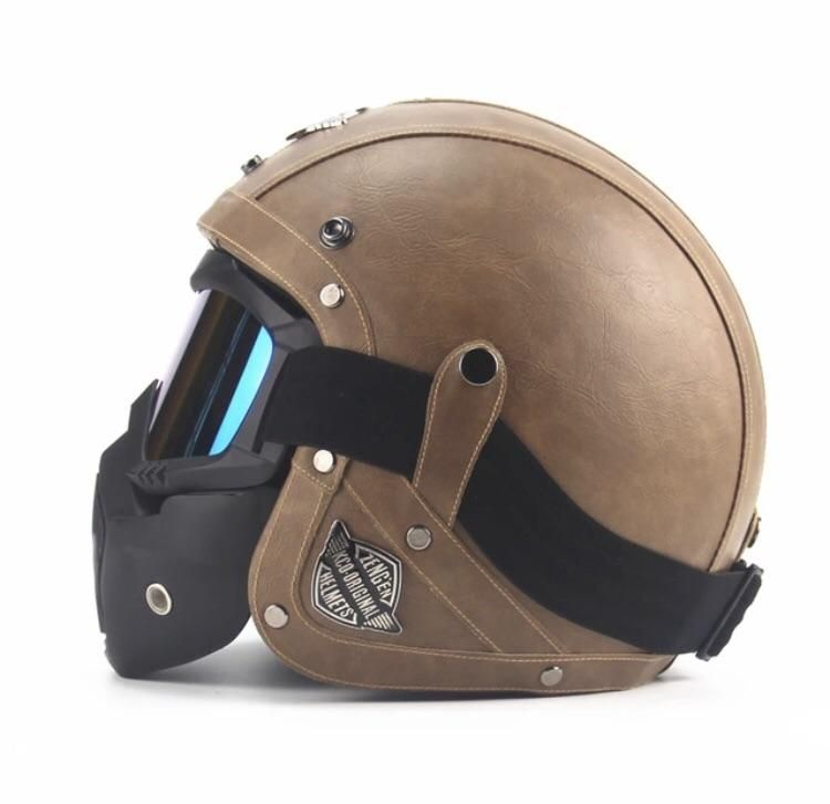 Open Face Motorcycle Helmet W Face Mask And Goggles Motorcycle Helmets Motorcycle Helmets Half Vintage Helmet