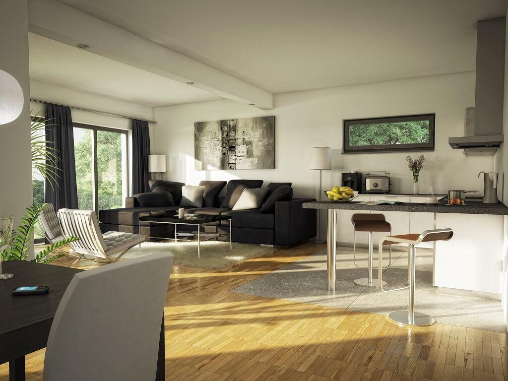 wohnzimmer ideen bungalow evolution 111 v4 bien zenker inneneinrichtung haus wohnzimmer offen. Black Bedroom Furniture Sets. Home Design Ideas