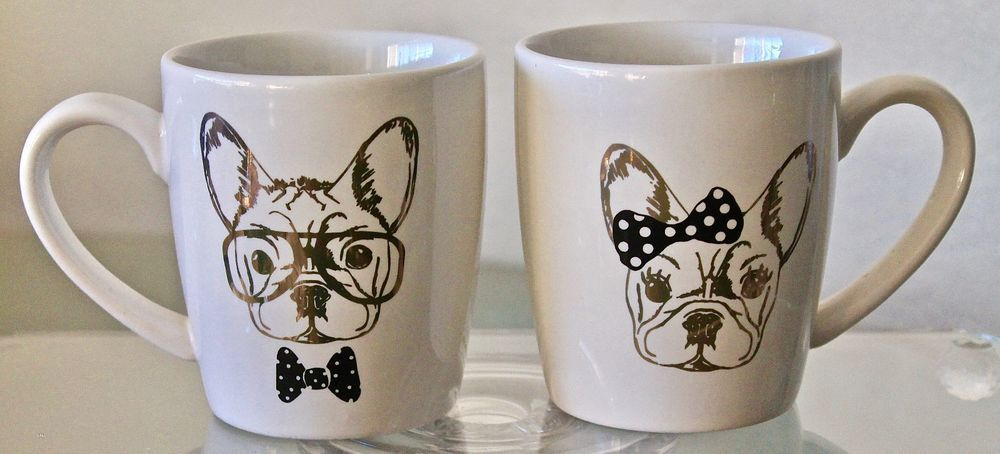 FRENCHIES BY ELLE DECOR MUGS CUPS SET OF 2 GOLD BLACK DOGS ...