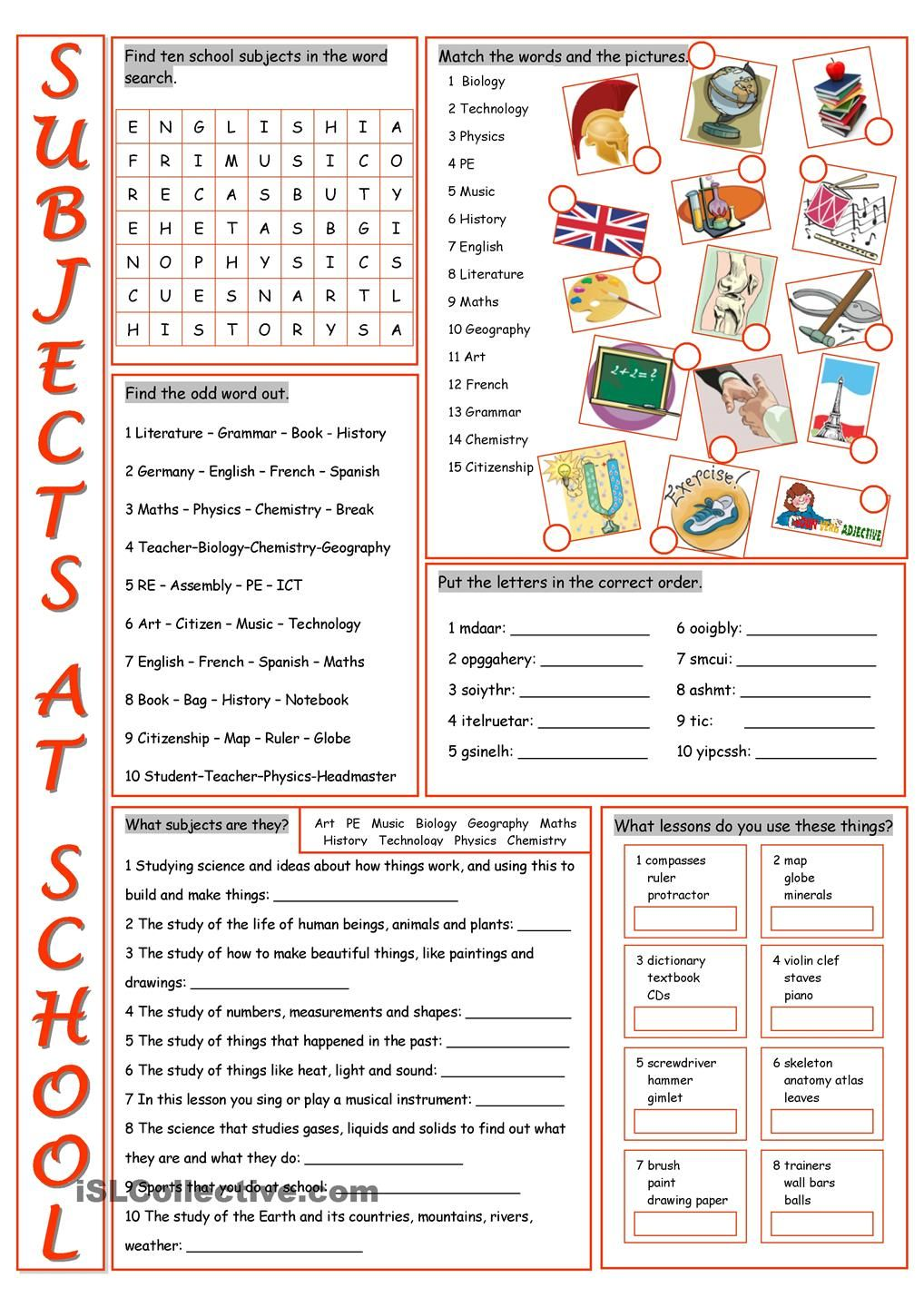 School Subjects Vocabulary Exercises English Pinterest