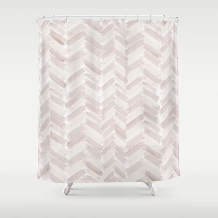 Neutral Chevron Shower Curtain by stylishandco