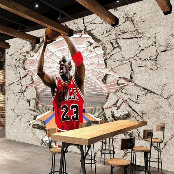 NBA Jordan 3D Sports Wallpaper Basketball Wall Mural