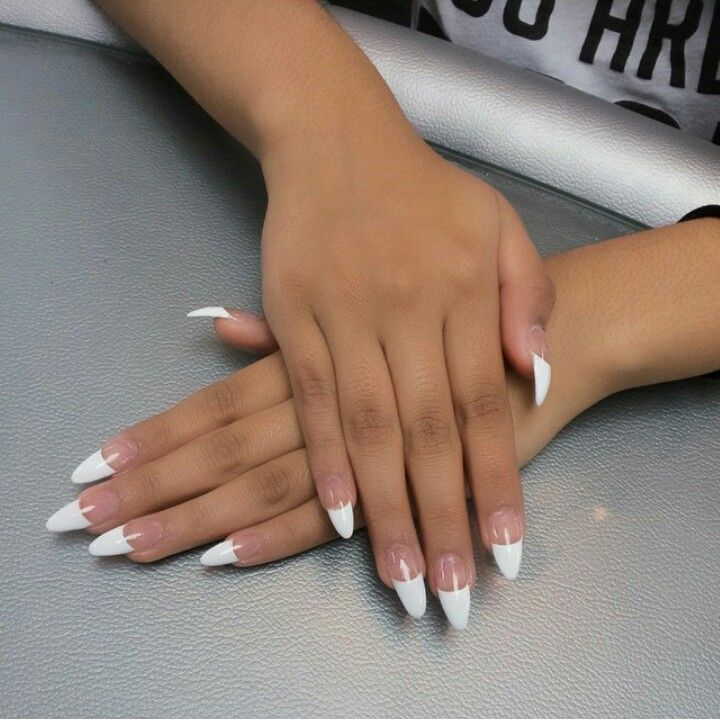 Pointy french tip nails | NAILS!! pretty :-) | Pinterest | Almond ...
