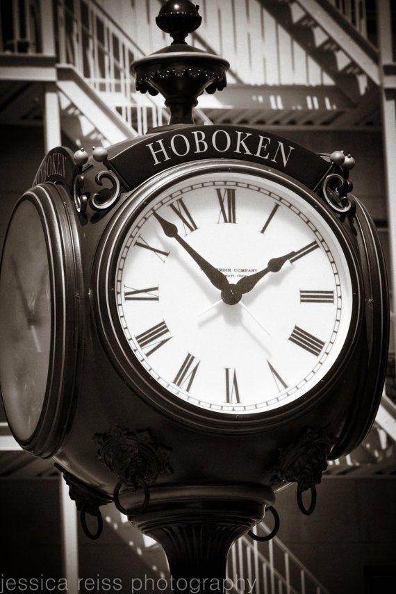 Black And White Hoboken New Jersey Antique Clock Art Print Photography Industrial Modern Art Home Decor