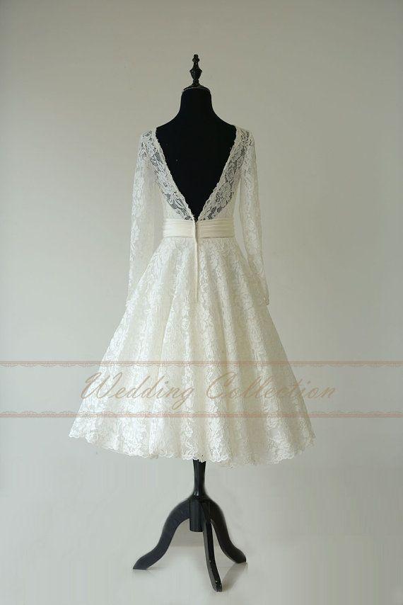 Schiere Spitze Hochzeitskleid Tee Länge von Weddingcollection ...