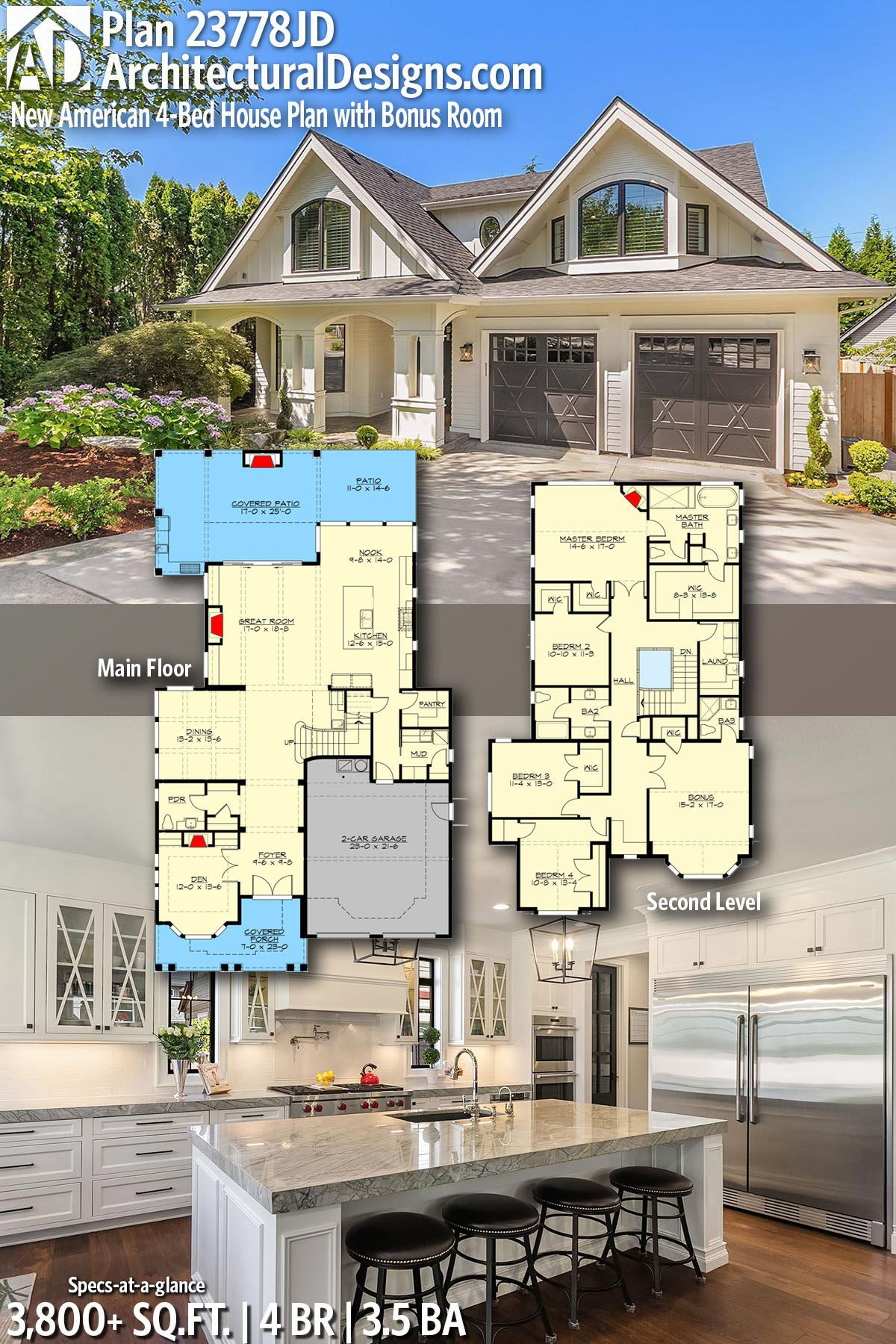 Plan 23778jd New American 4 Bed House Plan With Bonus Room House Plans American Houses Architecture House