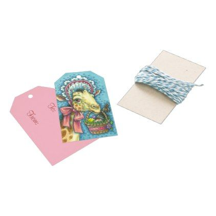 Easter bonnet giraffe gift tags set negle Image collections