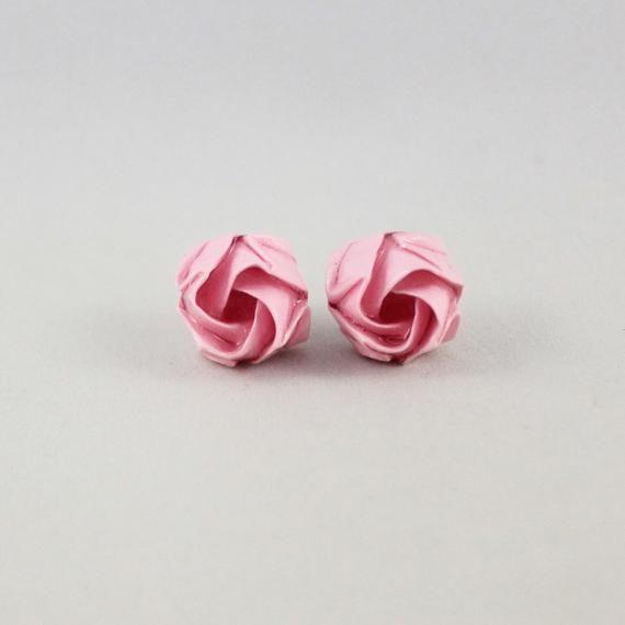 Photo of Origami Flower Stud Earrings,Paper Anniversary Gift,Pink Flower Earring,Origami Jewelry,Rose Earring