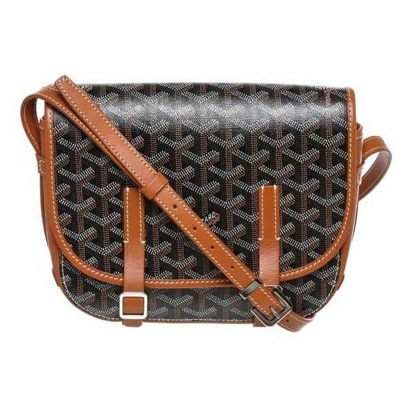 31b4304e47b9 Pre-Owned Goyard Black and Tan Belvedere Pm Crossbody Handbag featuring  polyvore