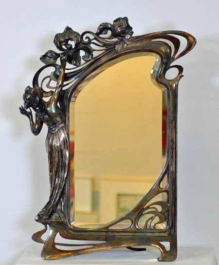 Art nouveau miroir non dat et non sign nouveau for Miroir art nouveau