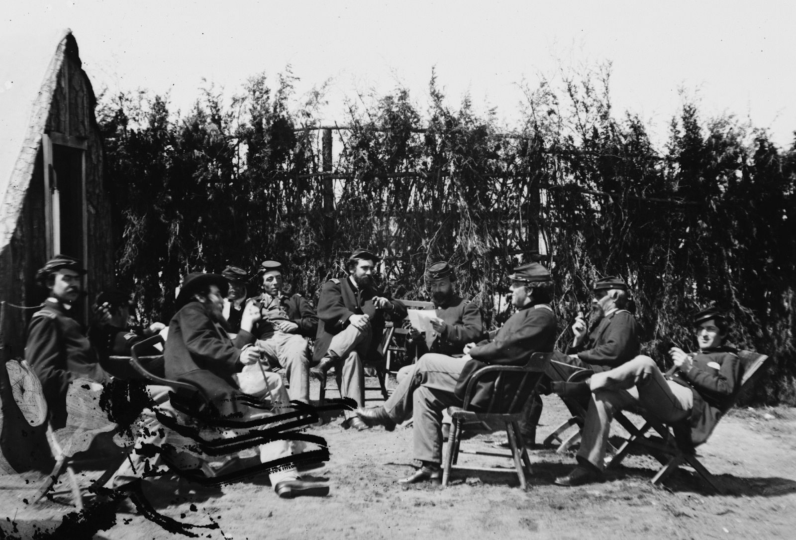Union officers of the 1st Connecticut Heavy Artillery relaxing in camp at Fort Darling, Virginia 1865.
