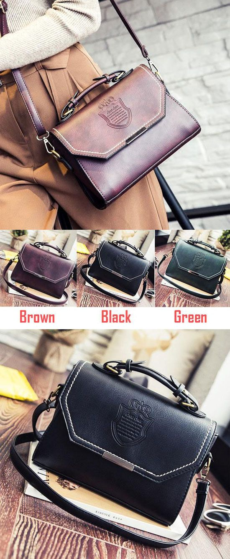 Leisure PU Mini Messenger Bag Leisure Retro Embossed Badge Shoulder Bag for big sale! #women #retro #handbag #shoulder #Bag