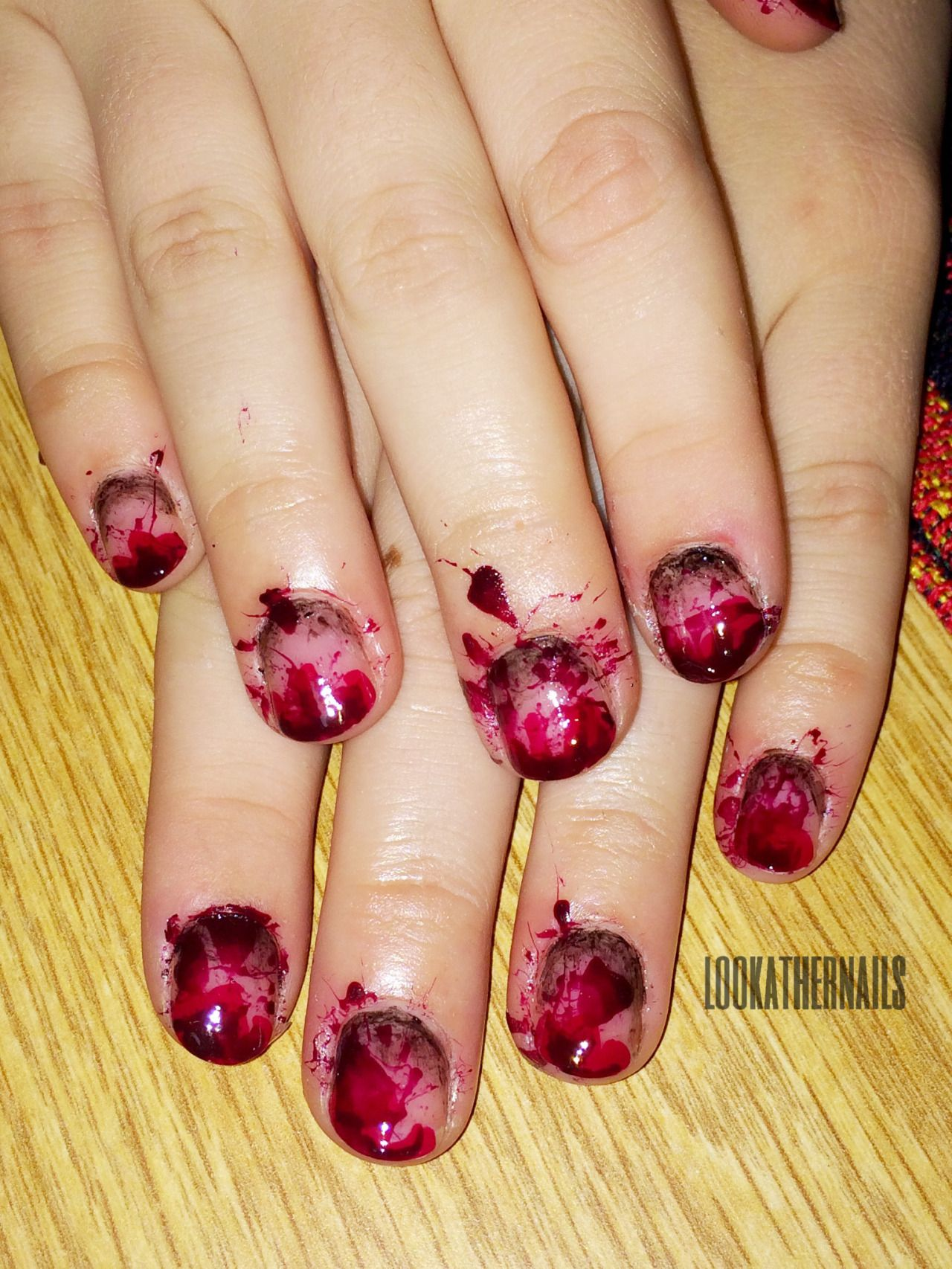Blood splatter halloween nail art by lookathernails nails blood splatter halloween nail art by lookathernails prinsesfo Gallery