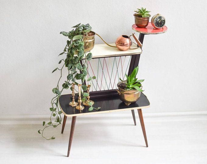 Indoor Plant Stand Modern Mid Century Holder Tiered 3 Tier Vintage