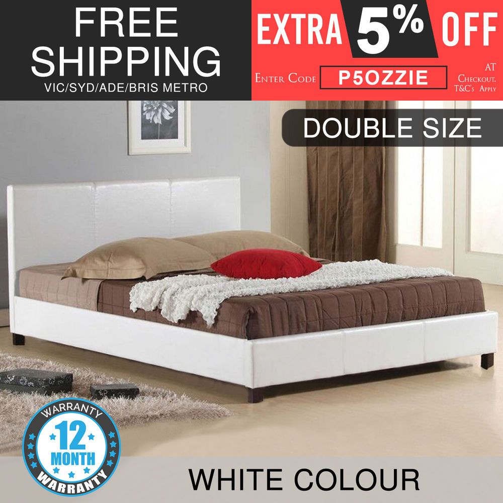 New Bed Frame Double Size Pu Leather Wooden Slat High Padded Head