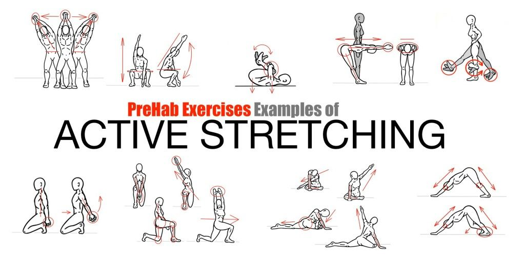 prehab exercises - examples of active stretching/ dynamic stretches